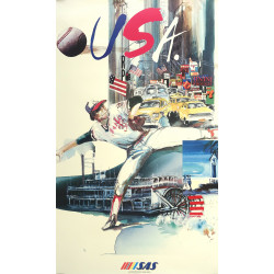 1992 USA Travel Poster by Scandinavian Airlines - Original Vintage Poster