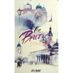 1992 Baltic States Travel Poster by Scandinavian Airlines - Original Vintage Poster