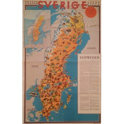 1931 Travel Map of Sweden - Original Vintage Poster