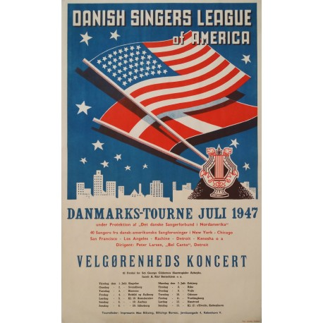 1947 Danish Singers League of America - Original Vintage Poster