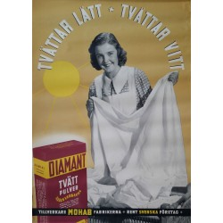 1940 Swedish Washing Powder Advertisment - Orginal Vintage Poster