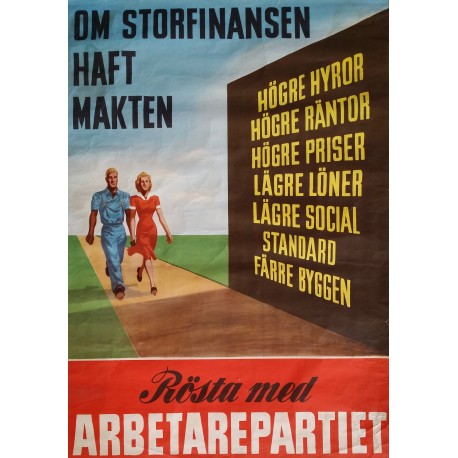 1948 Swedish Workers Party - Original Vintage Poster