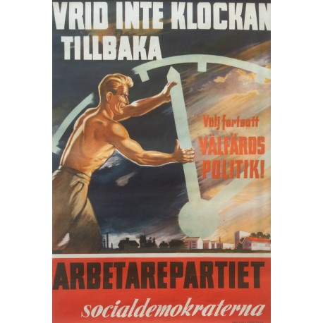 1940s Swedish Workers Party - Original Vintage Poster