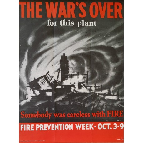 1943 WWII Home Front Fire Campaign - Original Vintage Poster