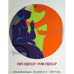 "1980s Wiinblad's ""Your Help - Our Help"" - Original Vintage Poster"