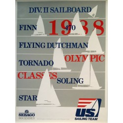 1988 US Sailing Team Official Poster (Grey Edition) - Original Vintage Poster