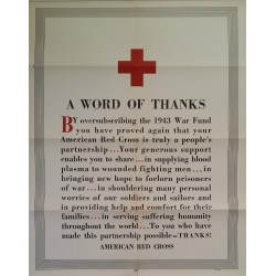 1943 Red Cross Campaign Poster -  A Word of Thanks - Original Vintage Poster