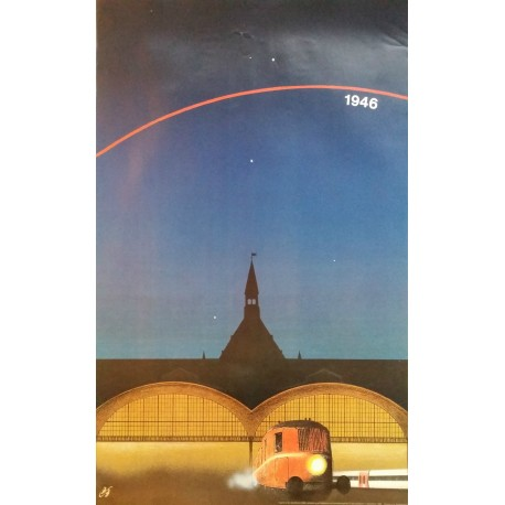 1986 Copenhagen Central Station - Danish Railways Advertisement (3 Posters) - Original Vintage Poster