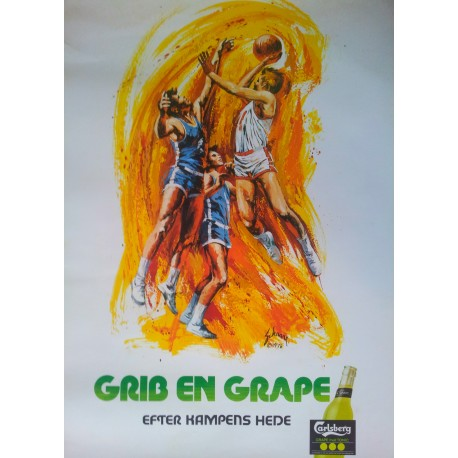 1976 Carlsberg Grape by Harry Schaare (Basketball) - Original Vintage Poster