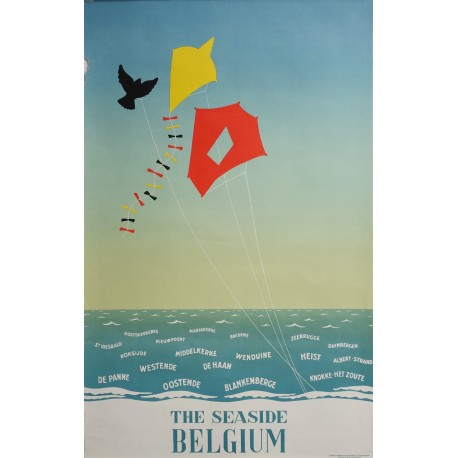 1950s Belgium Seaside Travel Poster - Original Vintage Poster