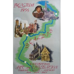 "1956 Belgian Travel Poster ""Exhibition Art and Civilization"" - Original Vintage Poster"