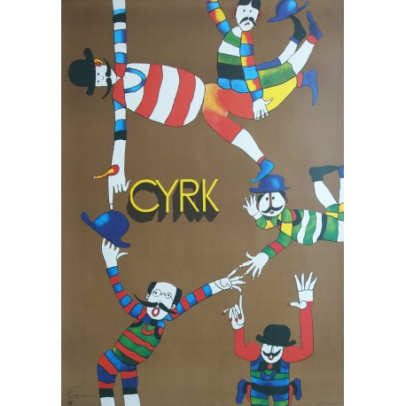1988 CYRK Five Clowns by Marian Stachurski - Original Vintage Poster