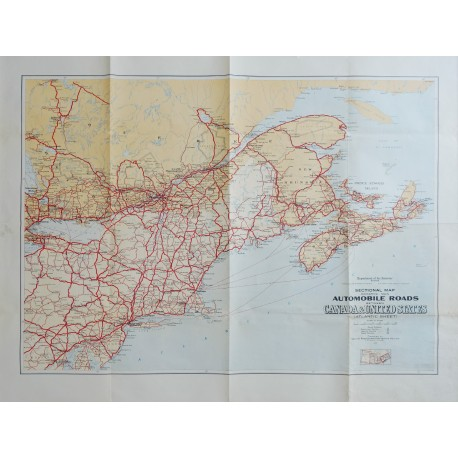 1930 Automobile Roads between USA and Canada - Original Vintage Map
