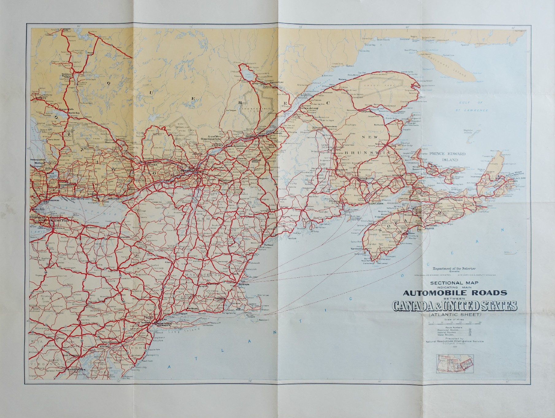 Automobile Roads Between USA And Canada Original Vintage Map - Us map 1930