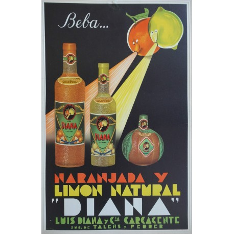 "1950s Spanish Orange and Lemon Drink Advertisement ""Diana"" - Original Vintage Poster"