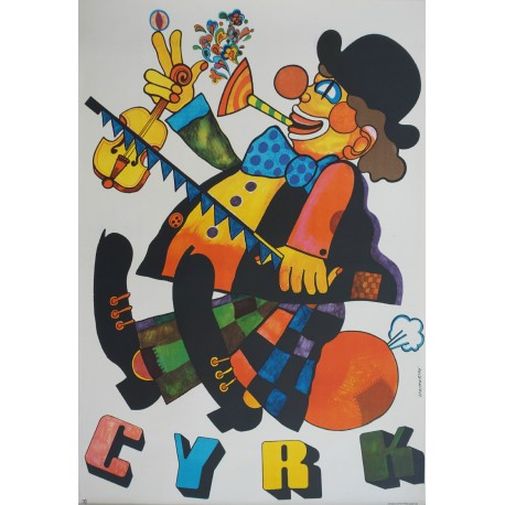 1974 CYRK Clown by Marian Stachurski - Original Vintage Poster