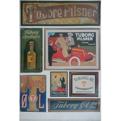 1970s Tuborg Beer Advertisement II - collection of old Tuborg Enamel Signs and Advertisement - Original Vintage Poster