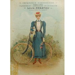 "1890s Bicycle Advertisement ""Louis Fenateu"" - Original Vintage Cardboard Advertisement"