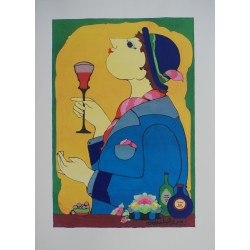 2007 Wiinblad Wine Drinking Lady - Original Vintage Poster