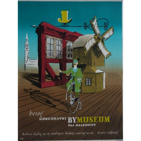 1940s Copenhagen Museum Advertisement - Original Vintage Poster