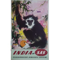 1950s SAS Airline Poster India (Gibbon) - Original Vintage Poster