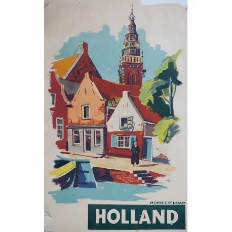 1950s Holland Monnickendam Travel Poster - Original Vintage Poster