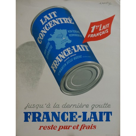 "1950s French Milk Advertisement ""France-Lait"" - Original Vintage Poster"