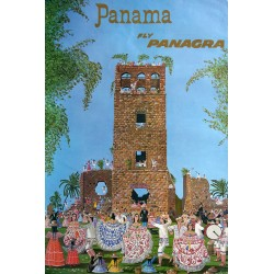 "1963 Panama Travel Poster ""Fly Panagra"" - Original Vintage Poster"