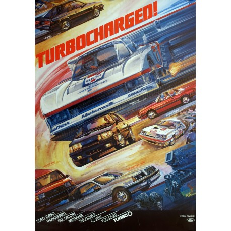 1980s Ford Turbocharged Advertisement - Original Vintage Poster