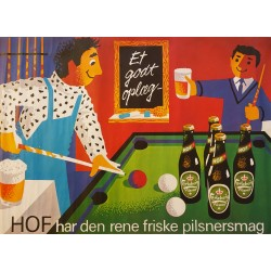 1970s Carlsberg Beer (Five-pin Billiards) - Original Vintage Poster