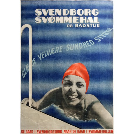 1947 Swimming Bath Advertisement (Svendborg Svømmehal) - Original Vintage Poster