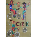 1975 CYRK Biking Clowns by Marian Stachurski - Original Vintage Poster