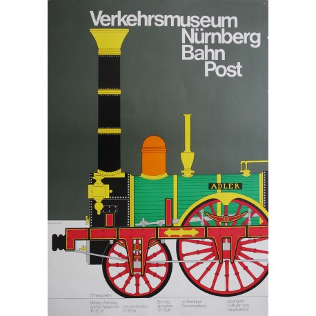 1980s DB Railway Advertisement (Verkehrsmuseum Nurnberg Bahn Post) - Original Vintage Poster
