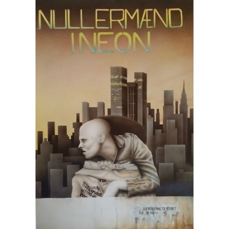 1980s Theatre Poster - Nullermænd i Neon Jomfu Ane Teateret