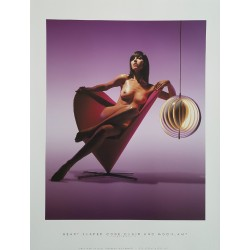 "2002 Nudes on furniture by Verner Panton (""Heart shaped cone chair"" & ""Moon lamp"") - Original Vintage Poster"