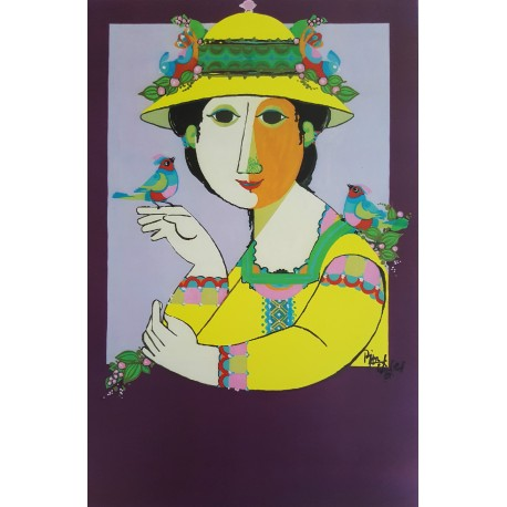 1984 Lady with Birds by Wiinblad - Original Vintage Poster