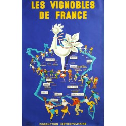 1961 Wine of France Les Vignobles de France - Original Vintage Poster