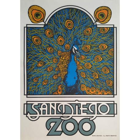 1970s San Diego Peacock Zoo Poster - Original Vintage Poster
