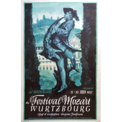 1957 Mozart Festival in Germany - Original Vintage Poster