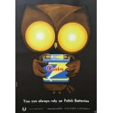 1970s Battery Owl Advertisement Poland - Original Vintage Poster