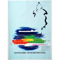 1980s Danish Shipowners Association by Otto Nielsen - Original Vintage Poster