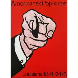 1964 Roy Lichtenstein Finger Pointing American Pop Art Louisiana Museum - Original Vintage Poster