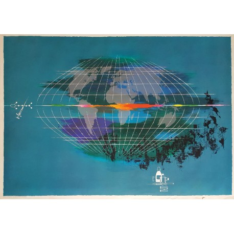 1950s World Map (Pharma) by Otto Nielsen - Original Vintage Poster