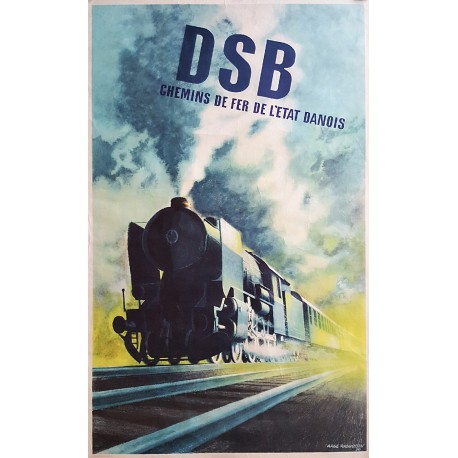 1950 Steam Locomotive by Aage Rasmussen - Original Vintage Poster