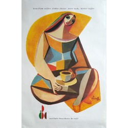 1980s Brazilian Coffee Poster - Original Vintage Poster
