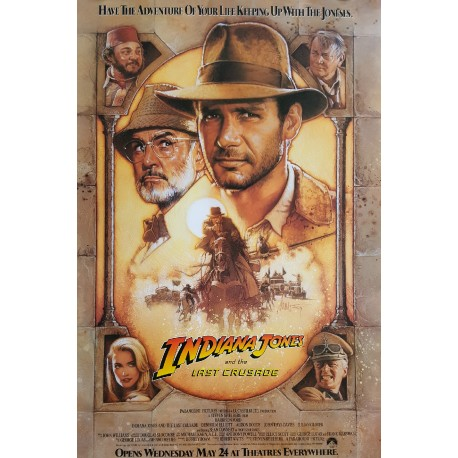 "1989 ""Indiana Jones and the Last Crusade"" Movie Poster - Original Vintage Poster"