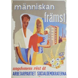 1950 Swedish Workers' Party Campaign Poster - Original Vintage Poster