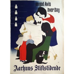 1940s Newspaper Advertisement by Arne Ungermann Aarhus Stiftstidende - Original Vintage Poster