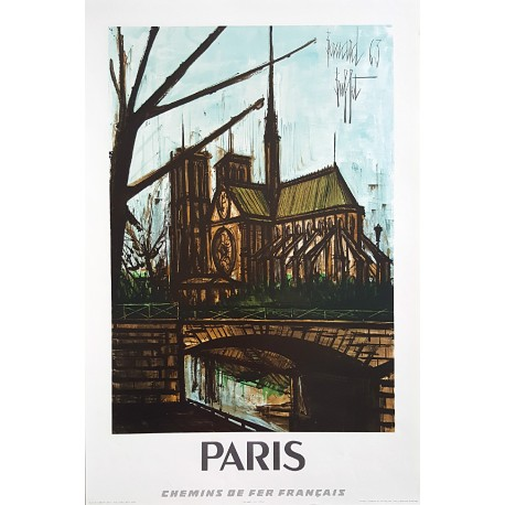 1967 Paris Travel Poster SNCF - Original Vintage Poster