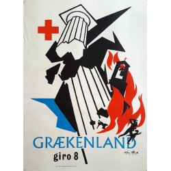 1953 Greece Earthquake Aid Campaign Red Cross - Original Vintage Poster